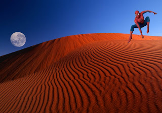 Spiderman Comic Super Heroe flying Wallpapers in Classic Bliss Day landscape background