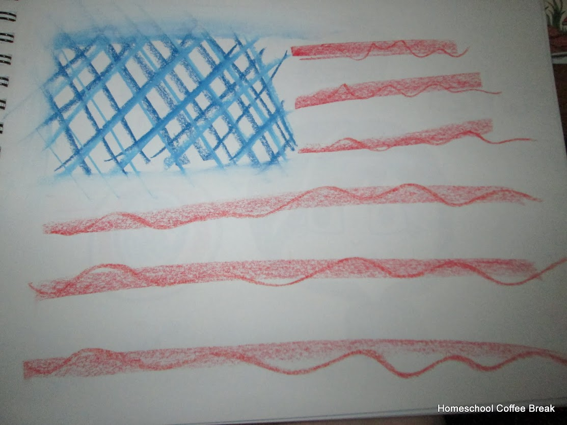 Stylized Flags on the Virtual Fridge, an art link-up hosted by Homeschool Coffee Break @ kympossibleblog.blogspot.com #art #virtualfridge