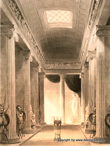 interior of the apollo temple in arcadia deepgreece