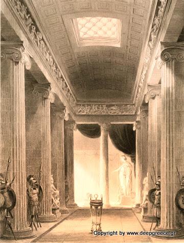 interior of the apollo temple in arcadia deepgreece