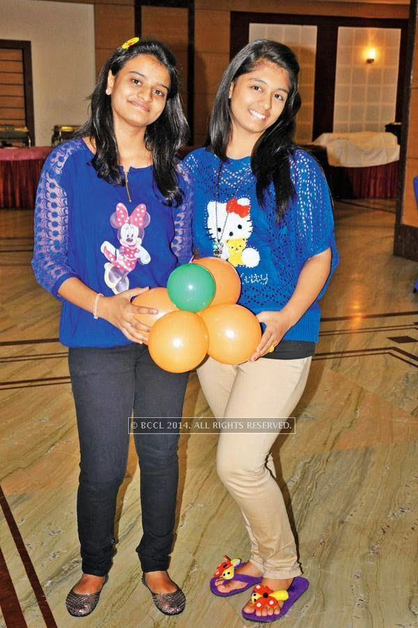 Avni (L) and Shivani during a cartoon-themed party organised by Modern Dental College and Research Centre, in Indore.