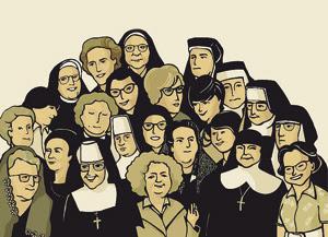 Rachele Lo Piano ha immaginato così le uditrici del Concilio, durante il Convegno delle teologhe a Roma. Titolo: 1962-2012. Alle 23 uditrici al Vaticano II: grazie!