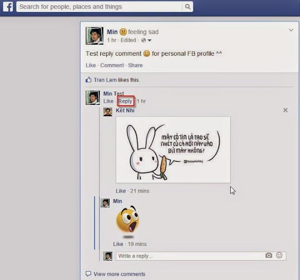 Facebook reply comment  cho tài khoản cá nhân