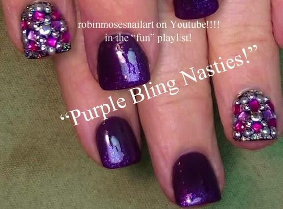 Purple Celebrity Bling Nails