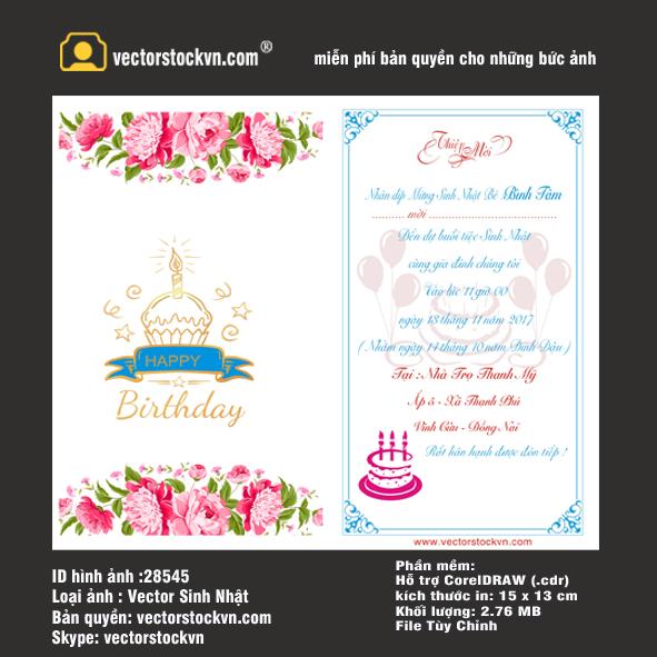 Vector Thiệp sinh nhật in màu