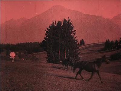 en Nosferatu los tonos rojizos se utilizan para representar el amanecer y el atardecer