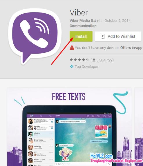 cài đặt viber vào android, iphone