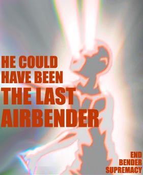 A poster with a color-reversed diagram of Aang from the energy-bending scene in the series finale; he's a gray profile against a light background, with orange lines throughout his body