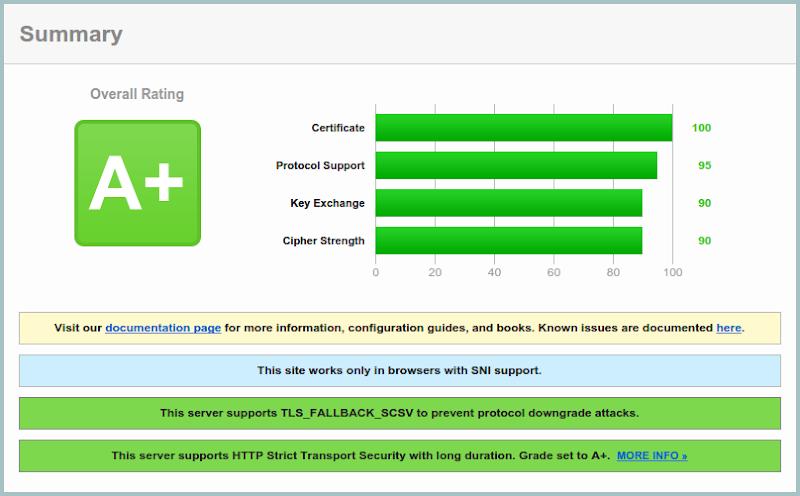 SSL-Check: Zusammenfassung mit Rating A+