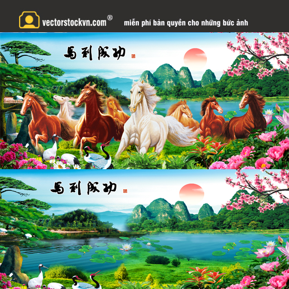 Tranh Tám Mã Phong cảnh Đẹp