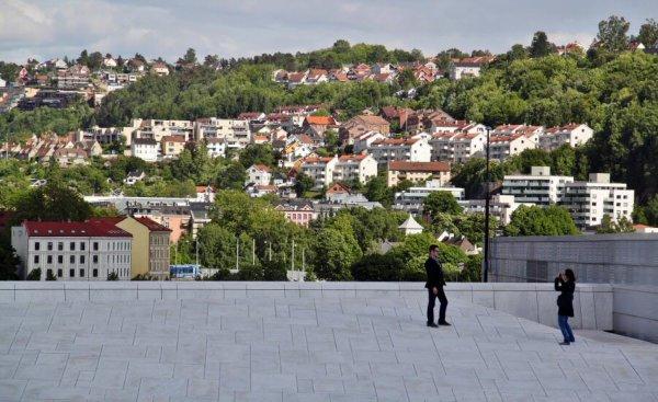 Vista panorámica de Olso desde el techo de la Ópera