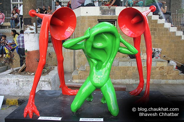 Stop sound pollution. A sculpture at Kala Ghoda expressing the situation very well.