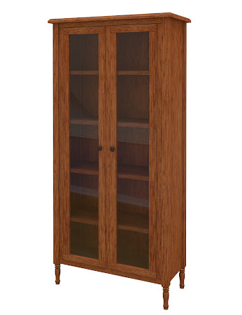 Farmhouse Glass Door Bookshelf in Washington Quarter Sawn Oak