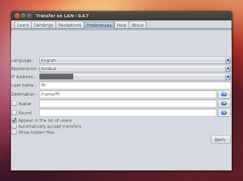 Transfer on LAN preferenze