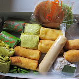 Indonesian bakery goods, including lemper, risoles, and croquettes