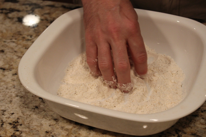 Mix Flour, Salt, Garlic Pepper