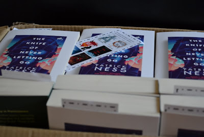 Box of World Book Night copies of The Knife of Never Letting Go