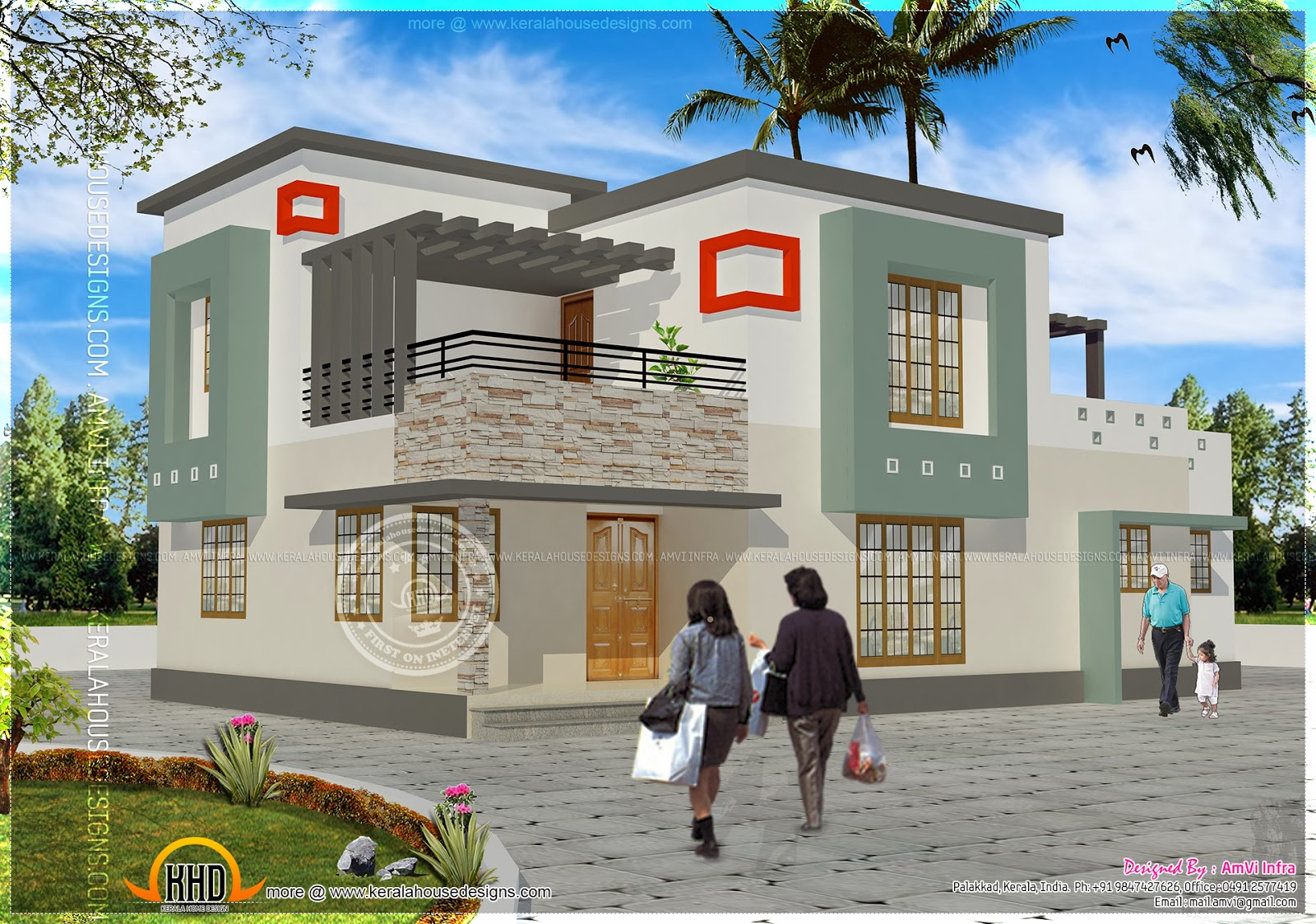 Floor plan and elevation of 2337 sq.feet house - Kerala home design ...