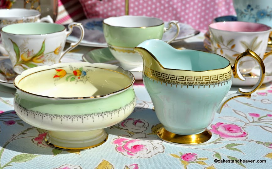 Mismatched Pastels Milk Jug and Sugar Bowl
