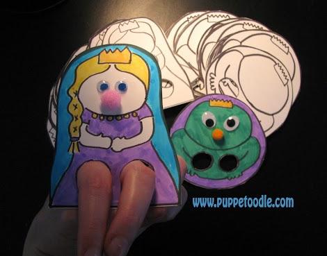 Frog Prince paper finger puppets
