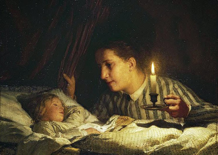 Albert Anker - Young mother contemplating her sleeping child in candlelight.