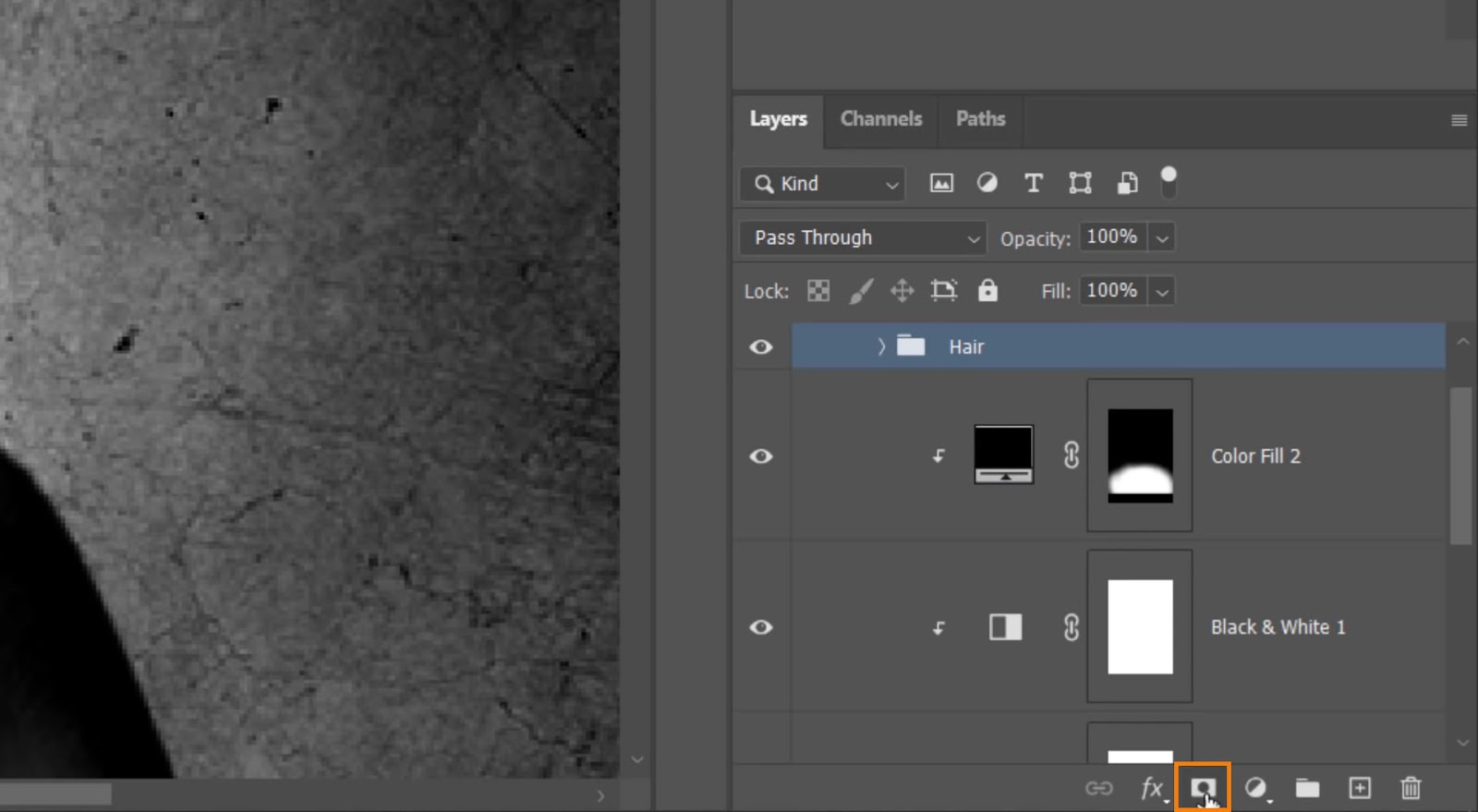 Click on the Layer Mask icon to create a layer mask