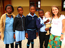 """Lora with her """"library helpers"""" from Welani school."""