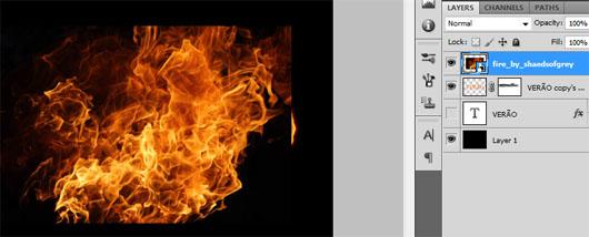 Imagem das chamas adicionada ao arquivo