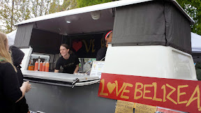 Eat Mobile 2014 - bite from Love Belizean, option of meat or vegetarian from the Love Belizean cart of either Roasted Red Pepper Tritip or Red Beans in Coconut Curry, either one served with coconut rice and habenero hot sauce