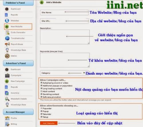 Chương trình kiếm tiền từ Blog Website