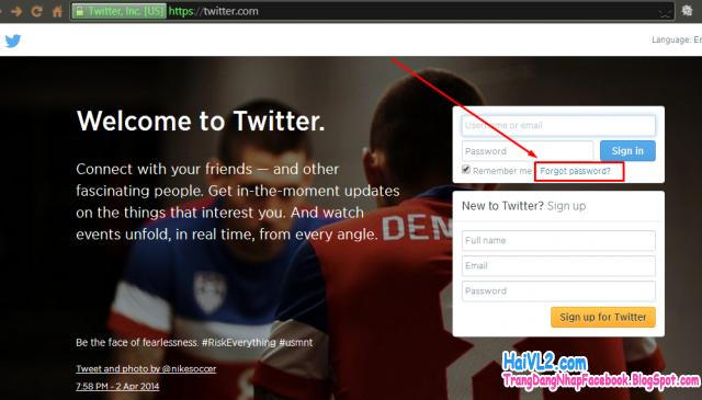 vào trang lấy lại mật khẩu twitter