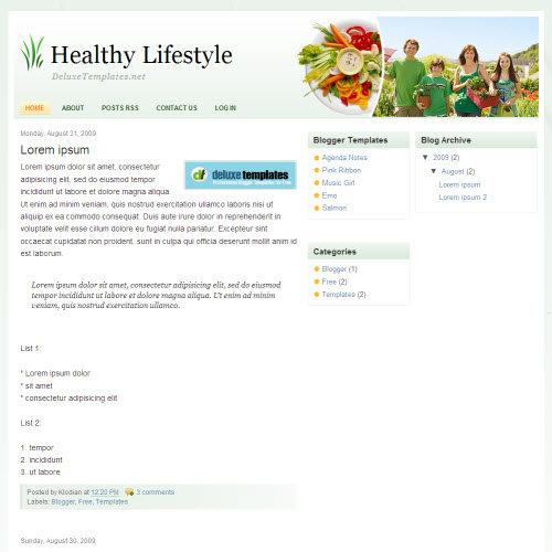 Healthy Lifestyle,blogger,Templates for blogger