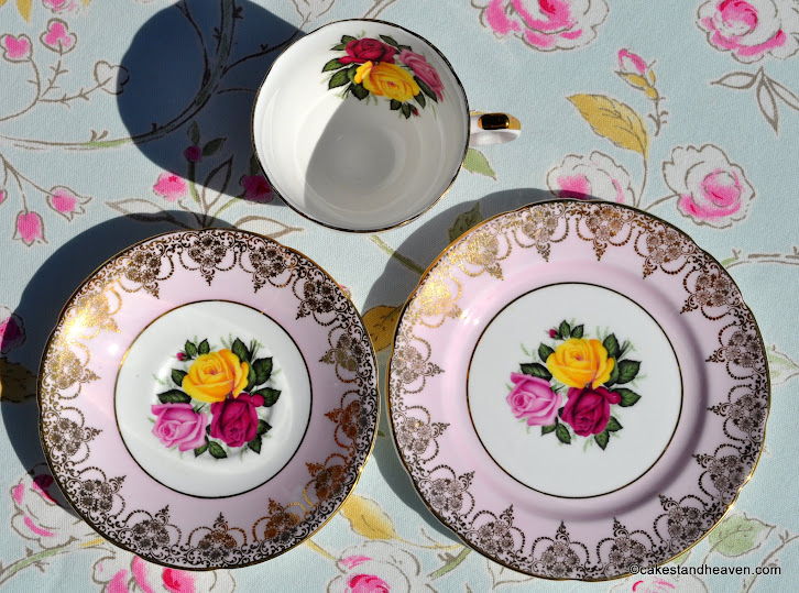 Imperial vintage tea trio with roses