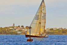 J/120 offshore cruiser racer sailboat- winning Bermuda Race off St David's Lighthouse