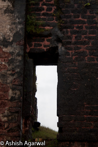 View of a doorway in the ruins of the Tower of the Church of St. Augustine in Goa