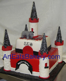 Delta Sigma Theta red, white and black fondant custom castle fondant birthday cake with sugar elephant