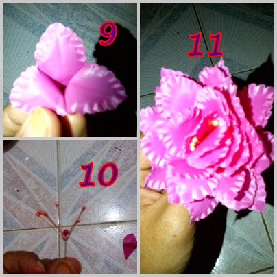 pasang kelopak-kelopak bunga sehingga menjadi seperti gambar nomor 11