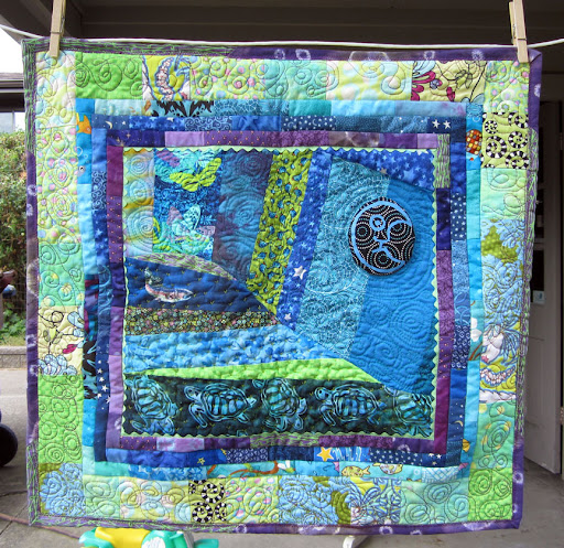sea turtle quilt, back