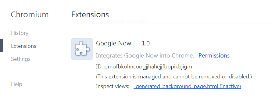 Google Now Chromium