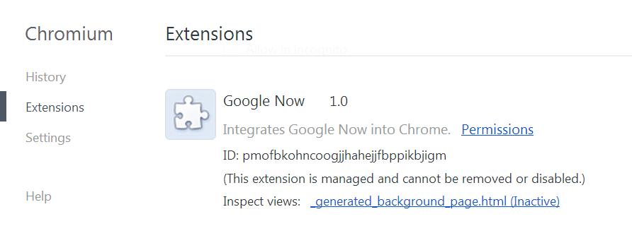 Google Now Chromium