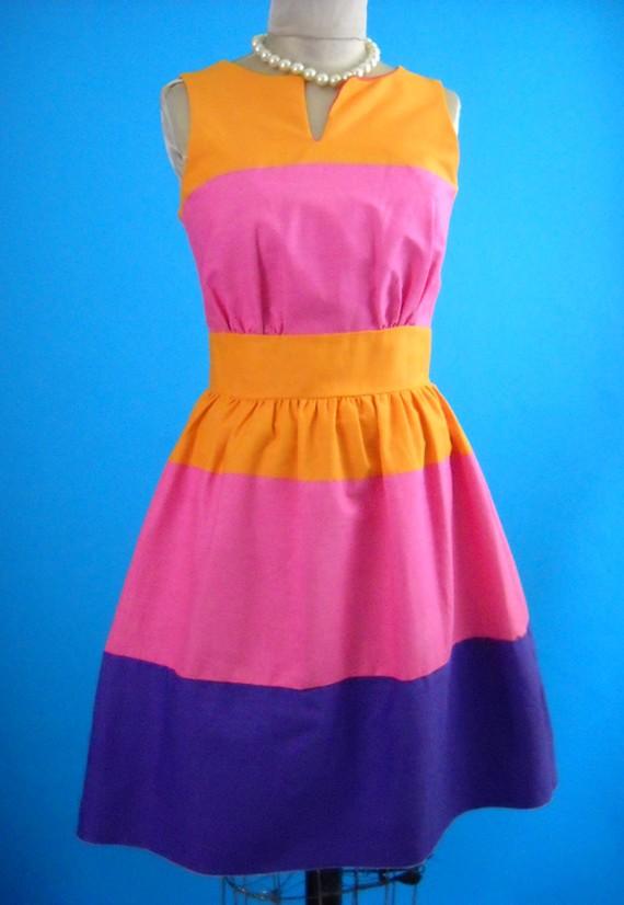 Farverig vintage kjole - køb her