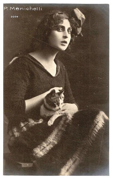 Pina Menichelli and a cat
