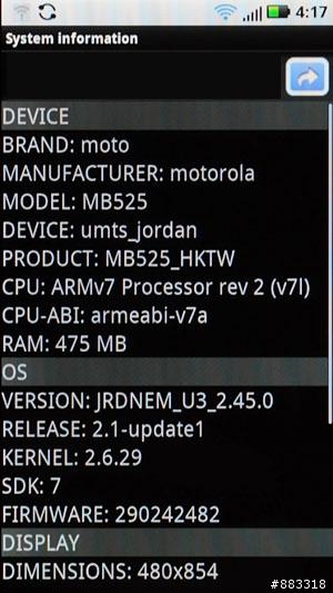 MOTO Defy MB525 - Moto Blur