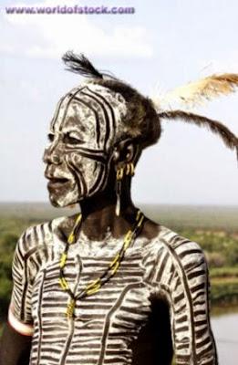 Africa Ethiopia Omo Valley Karo Tribesmen Warrior Karo Men