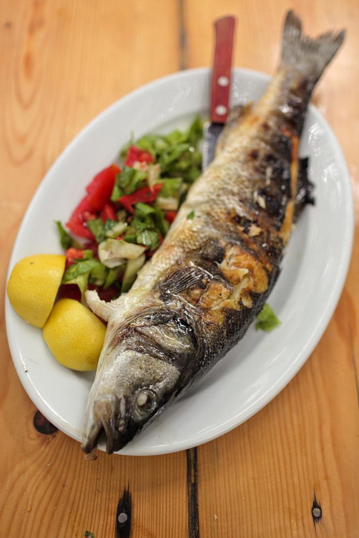Grilled Sea Bass - Kiki's Mykonos Restaurant.