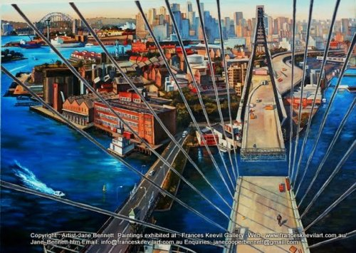 plein air oil painting of the construction of the Anzac Bridge in Pyrmont  by industrial heritage artist Jane Bennett