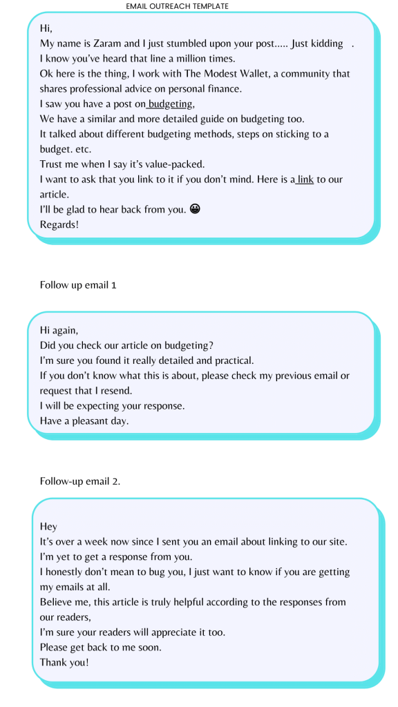 infographics: Link building Email outreach template 3