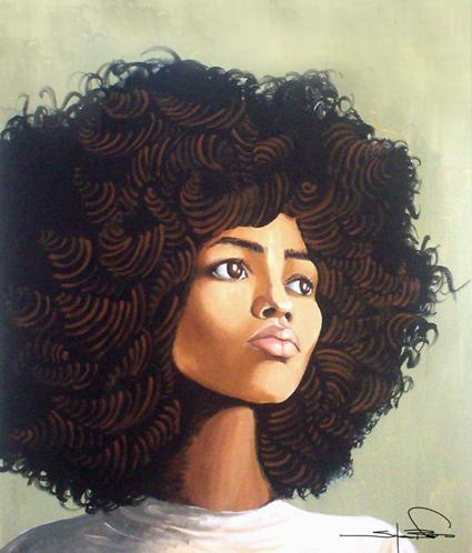 Black Girl Afro Art Art by salenaBlack Women Afro Art