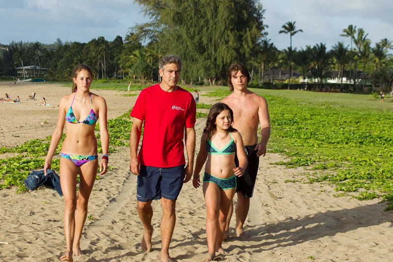 Shailene Woodley, George Clooney, Amara Miller and Nick Krause in The Descendants