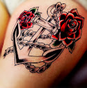 anchor and rose tattoo Ideas 2